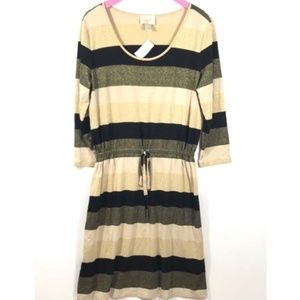 NWT Loft Black Gold Metallic Striped Sparkle Dress